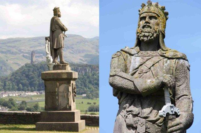 Estatua de Robert the Bruce y Monumento Nacional a Wallace National Wallace Monument en Stirling en Escocia