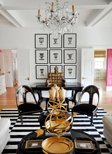 Belle maison inspiration snapshot black white gold glamour for Black and gold living room ideas