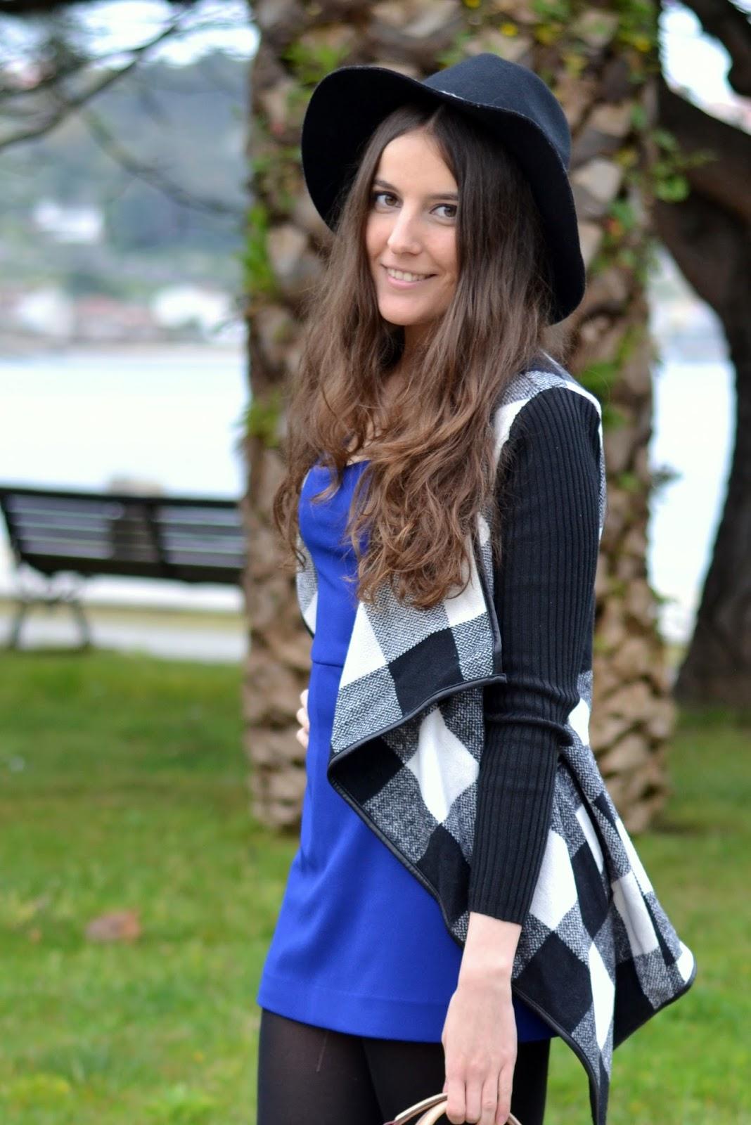 blue klein jumpsuit, B&W cardigan sheinside