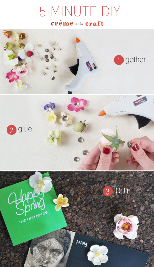 5 minute diy flower thumb tacks. Black Bedroom Furniture Sets. Home Design Ideas