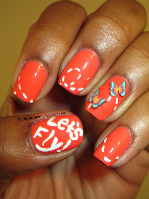 Wet n Wild Club Havana, coral, butterfly, fimo, fimo canes, inspired by nature, nails, nail art, nail design, mani