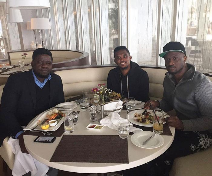 Peter Okoye Flies With Yakubu Aiyegbeni, Hangs Out With Samuel Eto (Photos)