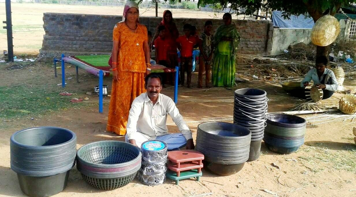 Hameerbhai Vansfoda from Nomadic Communities with his goods