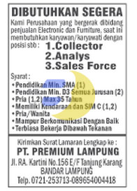 KARIR LAMPUNG: PT. Premium Lampung, Lowongan Kerja Lampung Rabu 07 Januari 2015