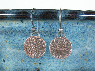 etched copper earrrings by Libellula Jewelry