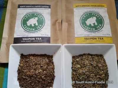 Lost Pines Yaupon Tea dark and light roasts
