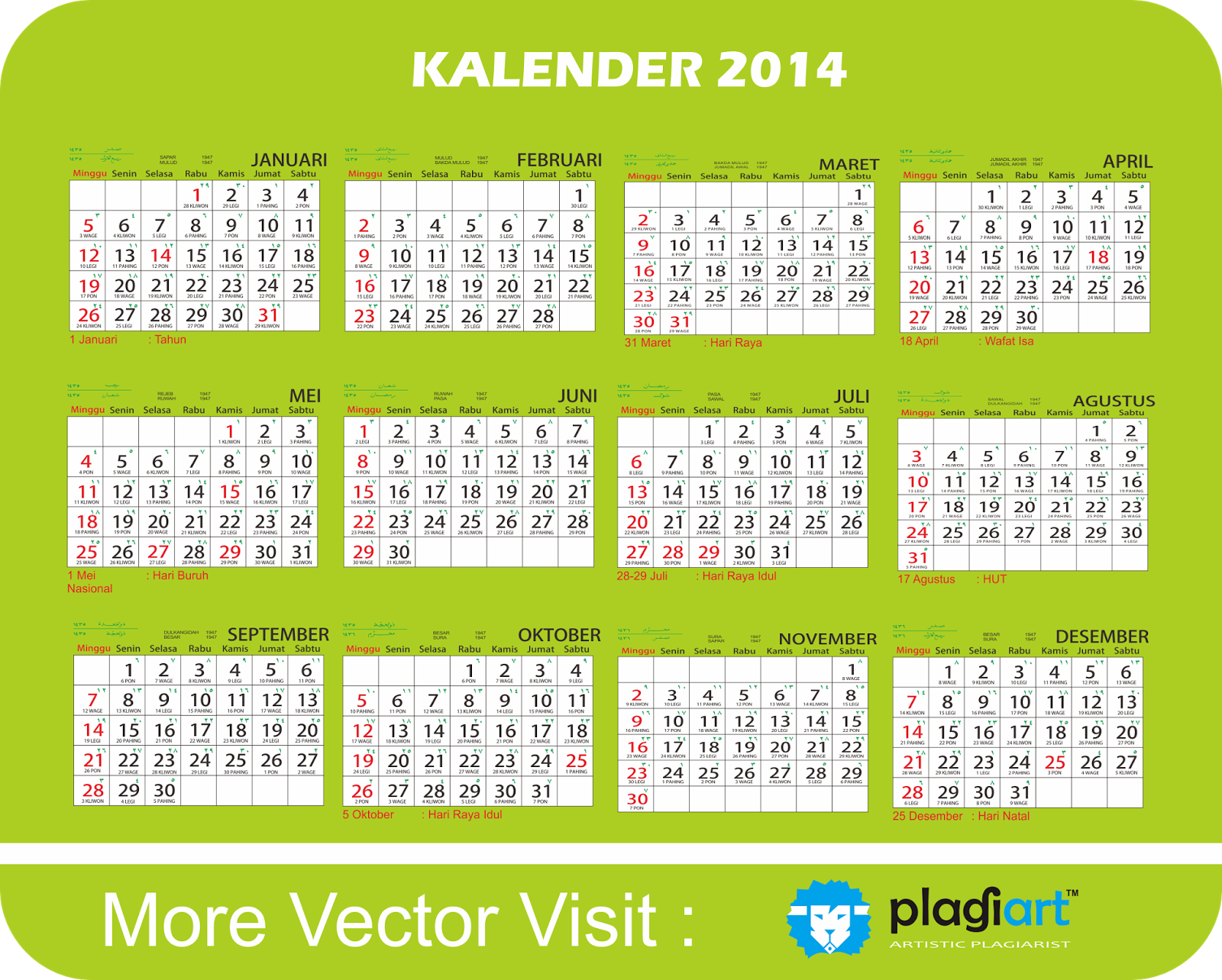 Download Vector Kalender 2014 dilengkapi Pasaran Jawa dan Bulan Islam