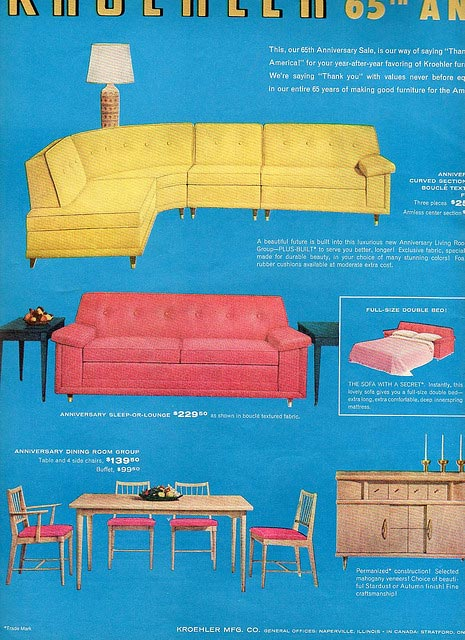 retro Kroehler couch sofa sectional mid-century vintage Just Peachy, Darling