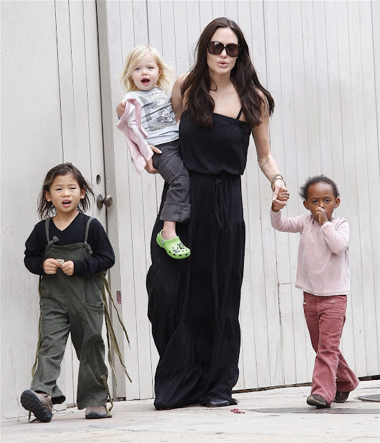 Angelina Jolie with her Kids