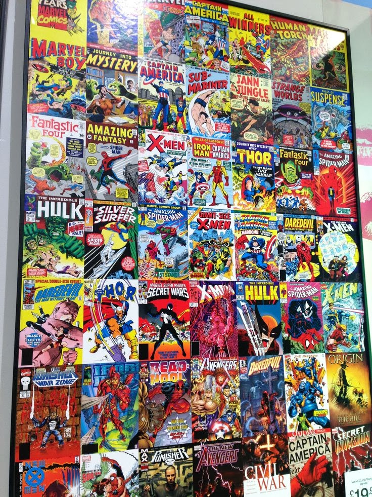 B&Q wall canvas, Marvel Comics montage.