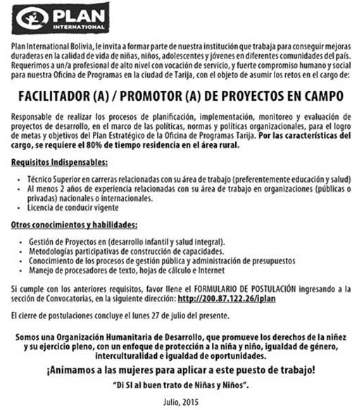 Plan International requiere Facilitador (a) / Promotor (a) de Proyectos de Campo