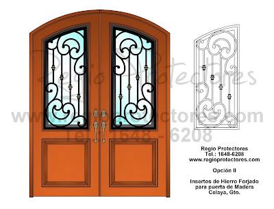 Inserto de Hierro Forjado para puerta de Madera, Diseño Opciones I y