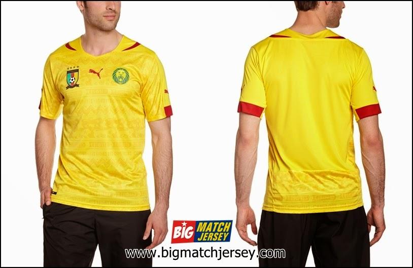 Jersey Bola Grade Ori Thailand Timnas Cameroon Away Piala Dunia 2014 Kuning Batik
