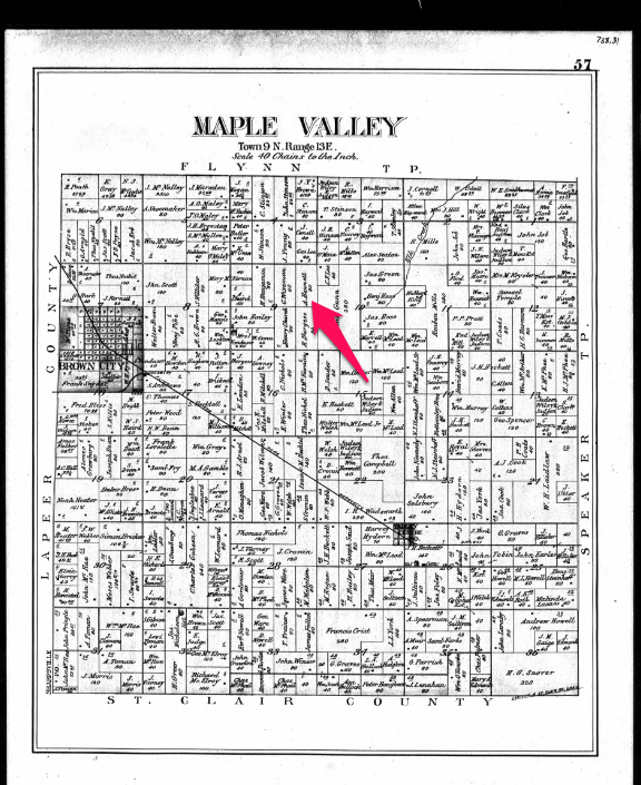 Climbing My Family Tree: 1894 Land Ownership Map of Maple Valley Township in Sanilac County Michigan, showing Andrew Bennett's farm