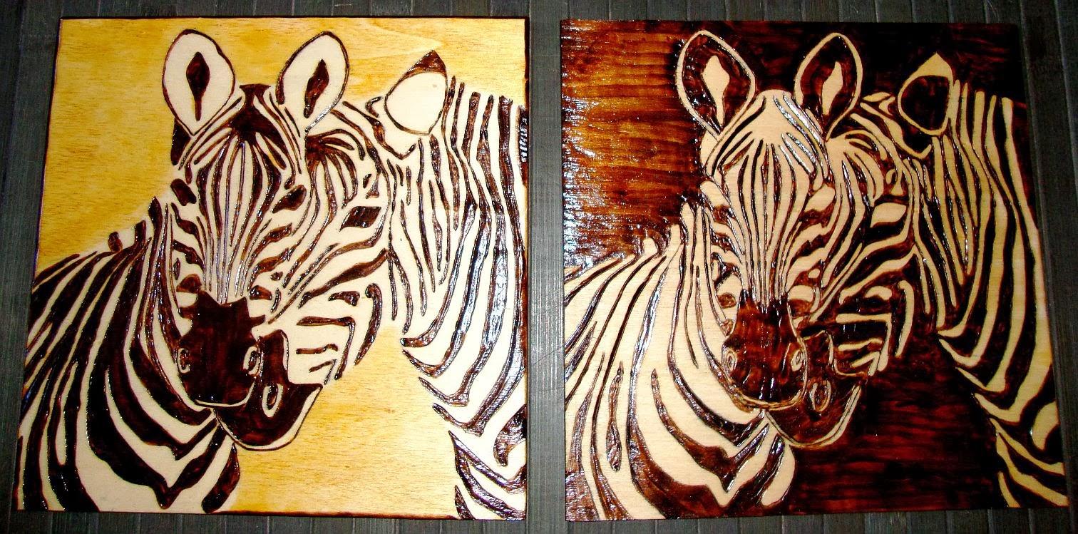 zebras em pirogravura