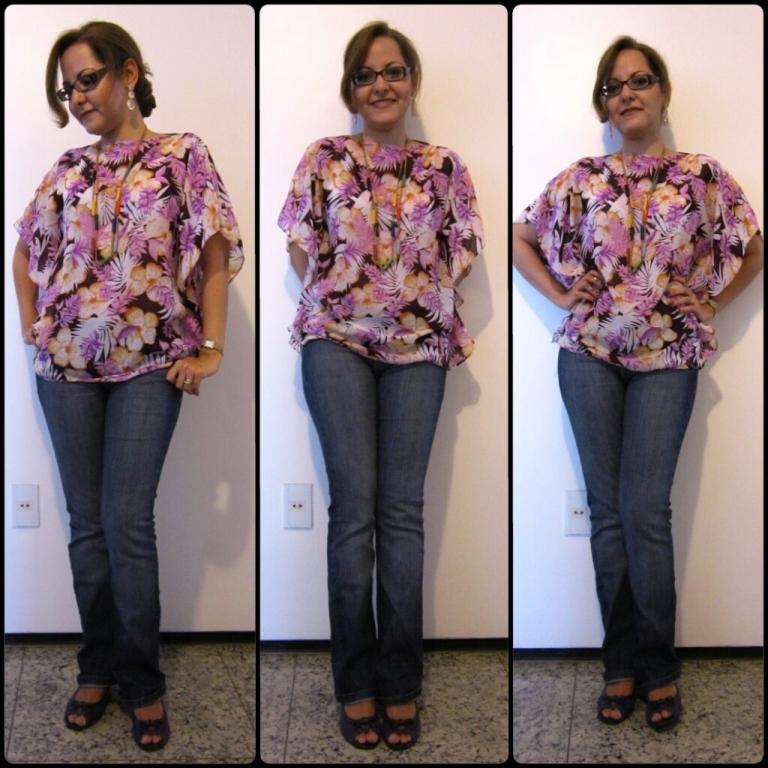 MoDaMa blusa de crepe estampada costura rubi