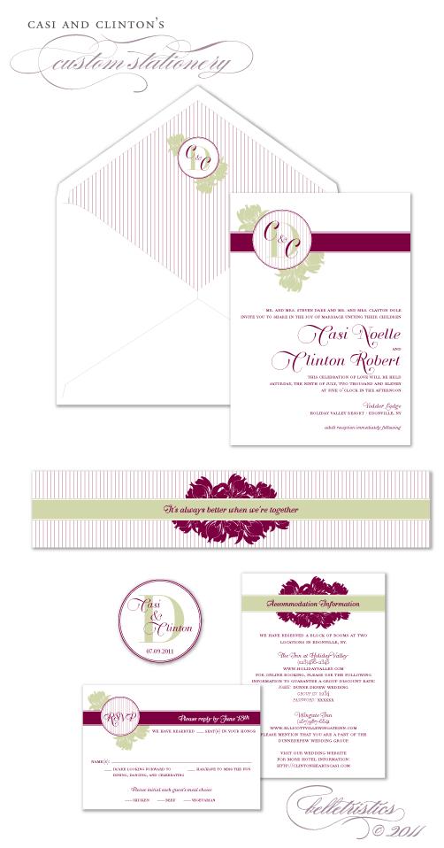 custom orchid pinstripe printable wedding invitation design
