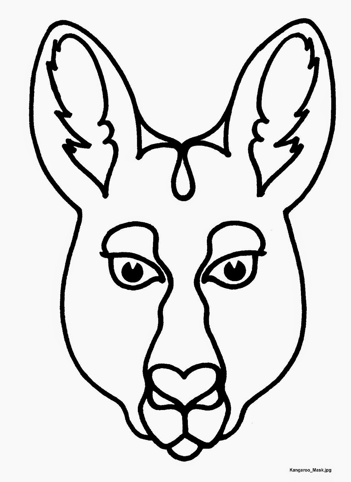 template of kangaroo mask