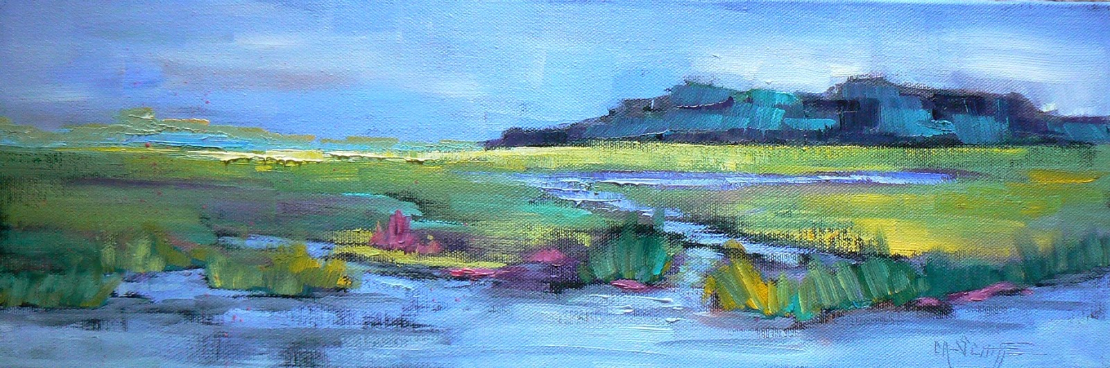 Palette Knife Painters Marsh Landscape Painting Daily Painting