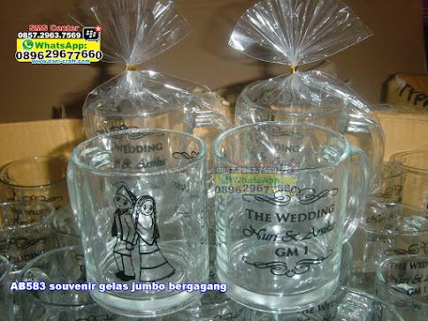souvenir gelas jumbo bergagang unik