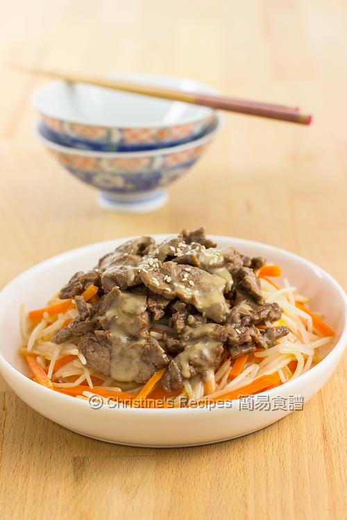 麻醬牛肉 Beef Bean Sprouts with Sesame Sauce01