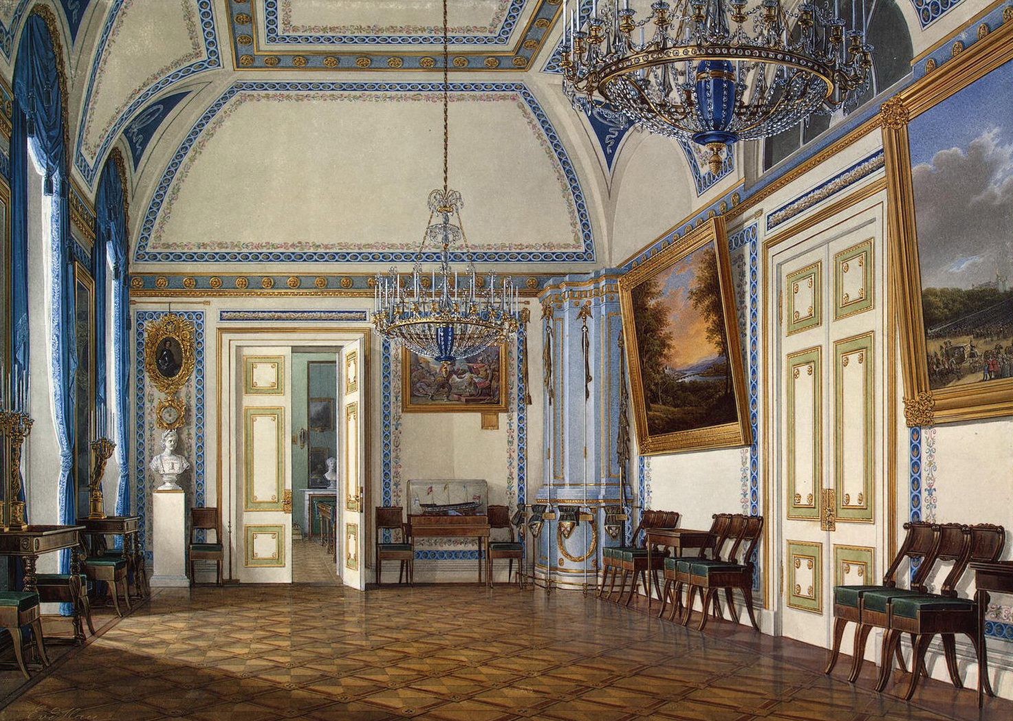 Interiors of the Winter Palace. The Antechamber of Tsesarevich ...
