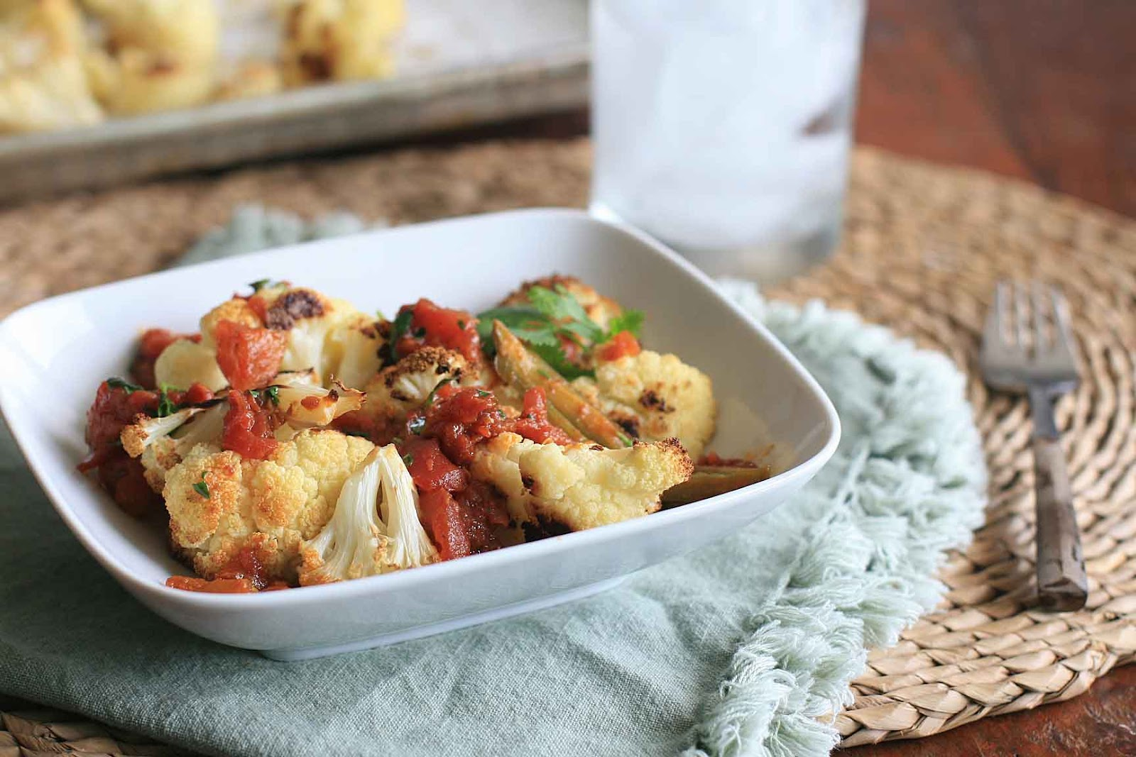Roasted Cauliflower with Spicy Tomato Sauce | Girl Cooks World