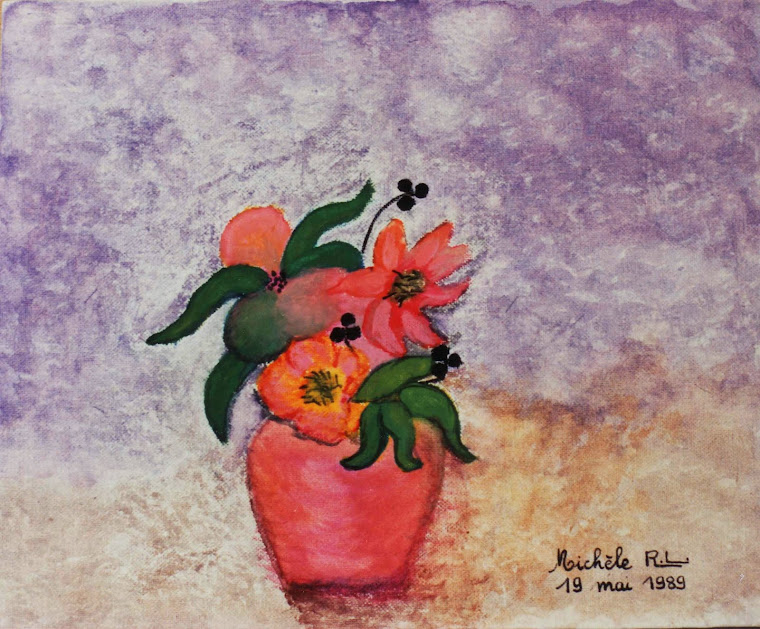 012 - 19051989 - NATURE MORTE AU VASE ROSE A L'ANEMONE
