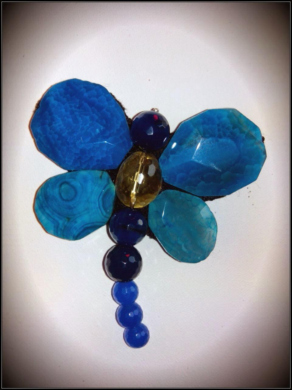 Broche Mariposa semipreciosas plata agatas azules y citrino joyería artesanal personalizada