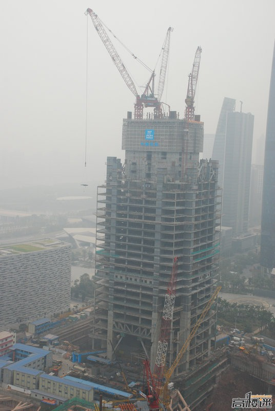 Picture of the The Chow Tai Fook tower under construction