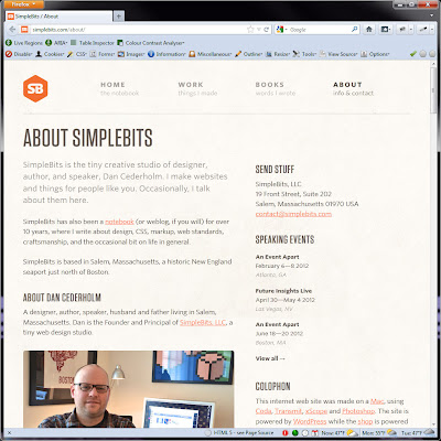 Screen shot of http://simplebits.com/about/.