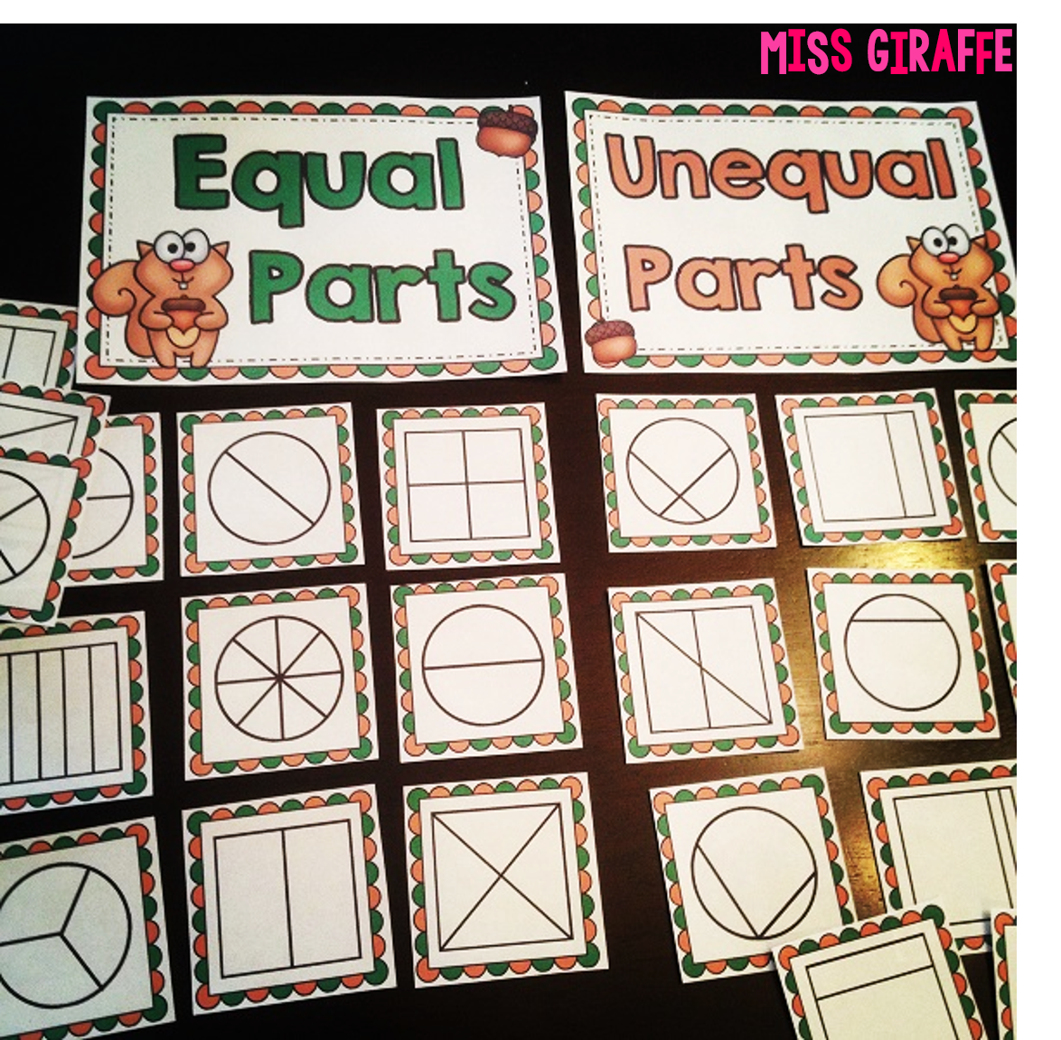Worksheet Fractions For First Grade miss giraffes class fractions in first grade ideas like this equal parts math center lots of fun fractions