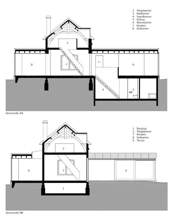 plano seccion casa de doble espacio