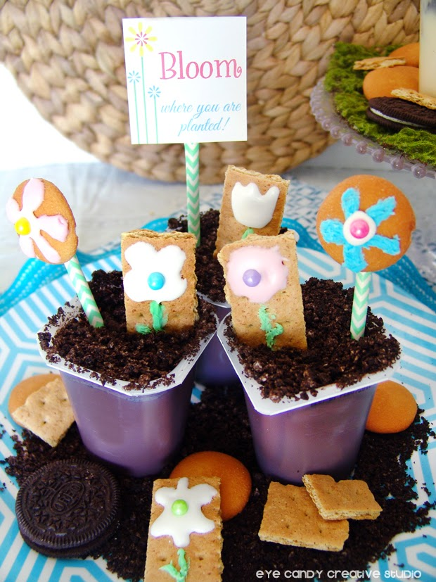 chocolate pudding cups, snack pack, bloom where you are planted, cookie art, flowers, oreo dirt