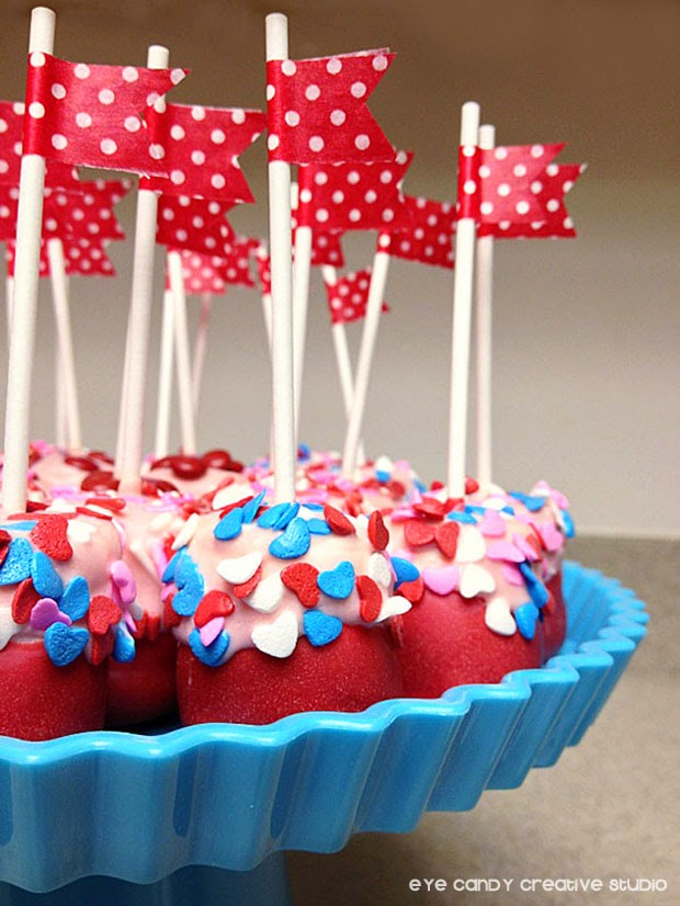 marshmallow pops, washi tape, cake stand, valentines day treat for kids