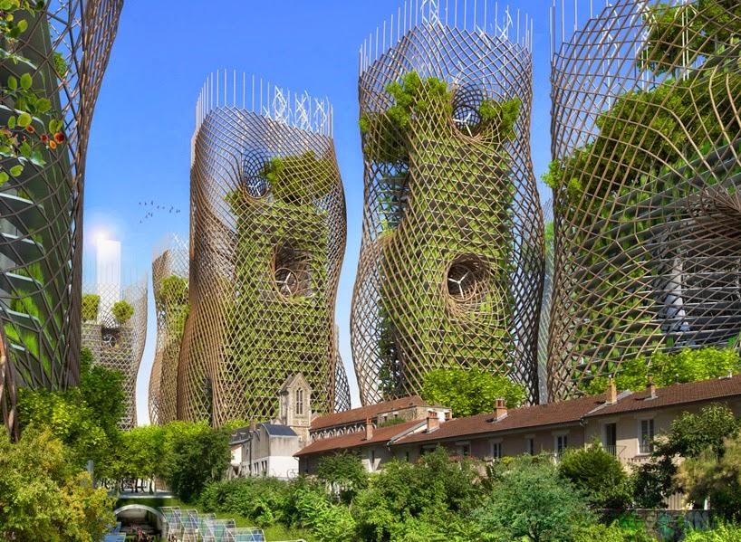 Proyecto Futurista en Paris, Ciudades Inteligentes, Edificios Verdes, Torres Nido de Bambu y Nido de Abeja