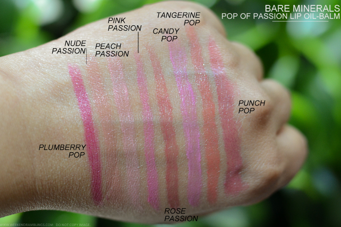 Bare Minerals Pop of Passion Lip Oil-Balm Nude Passion Peach Passion Pink Passion Rose Passion Candy Pop Tangerine Pop Punch Pop Plumberry Pop