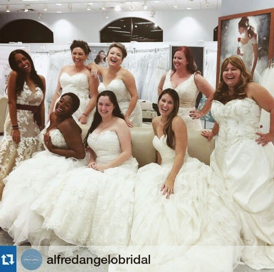 Alfred Angelo Instagram picture of real bloggers wearing wedding gowns