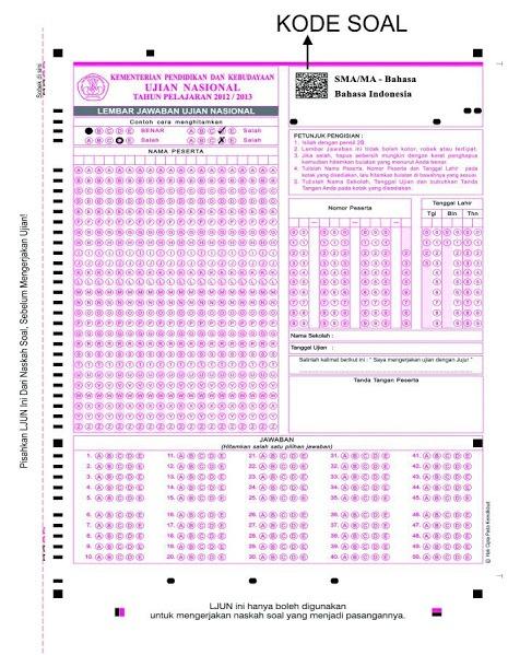 Contoh Lembar Jawaban Ujian Nasional 2013