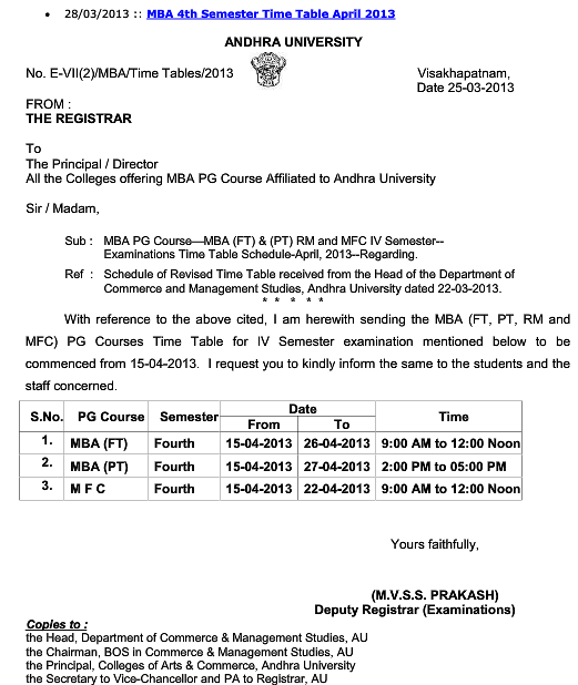 Andhra university mba fourth semester time table 2013 for Rtmnu time table 4th sem
