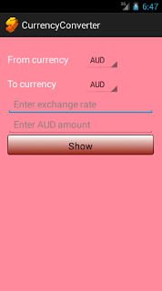 currency converter main interface