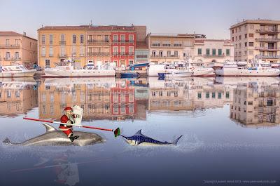 Le Père Noël à Sète joute dans le canal