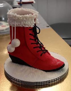 Bûche de Noel originale Gâteau sculpté 3D boots