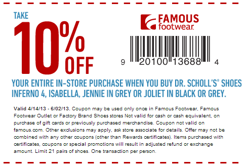 Coupons for famous footwear
