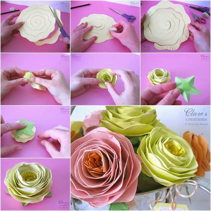 Как делать большие цветы из бумаги пошаговая инструкция