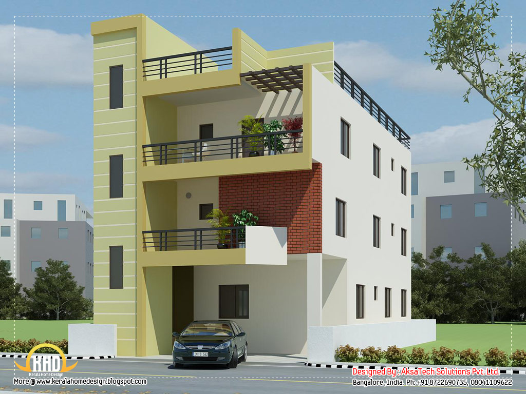 Modern contemporary home elevations kerala house design idea for Small house elevation in india