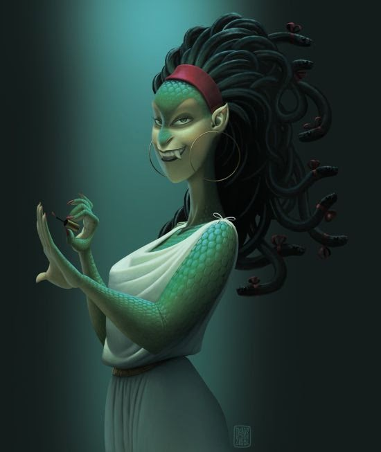 Denis Zilber ilustrações divertidas caricaturas Medusa