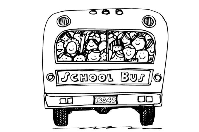 باص المدرسة يقل الاطفال وهم ينظرون من النافذة الخلفية بصورة تلوين