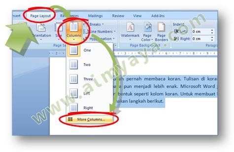 Gambar: Cara memunculkan dialog column untuk mengatur format kolom tulisan di Microsoft Word 2007