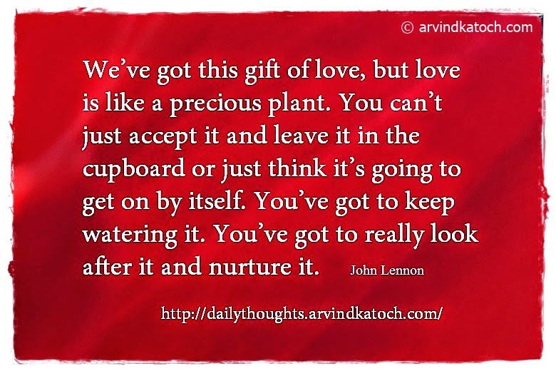 Love, gift, plant, accept, think, john lennon, daily thought, quote